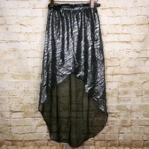 River Island Silver Metallic Wrap Hi Low Skirt